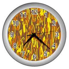 Yellow Pattern Wall Clocks (silver)  by Valentinaart