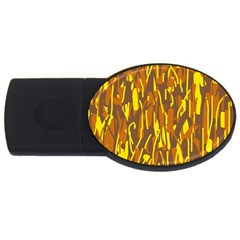 Yellow Pattern Usb Flash Drive Oval (2 Gb)  by Valentinaart