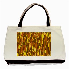 Yellow Pattern Basic Tote Bag (two Sides) by Valentinaart