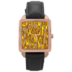 Yellow Pattern Rose Gold Leather Watch  by Valentinaart