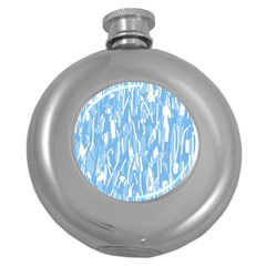 Blue Pattern Round Hip Flask (5 Oz) by Valentinaart