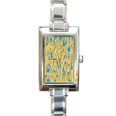 Yellow And Blue Pattern Rectangle Italian Charm Watch by Valentinaart