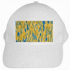 Yellow And Blue Pattern White Cap by Valentinaart