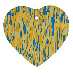 Yellow And Blue Pattern Ornament (heart)  by Valentinaart