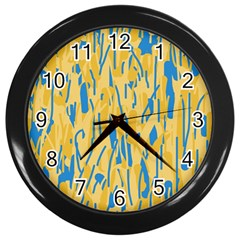Yellow And Blue Pattern Wall Clocks (black)