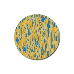 Yellow And Blue Pattern Rubber Coaster (round)  by Valentinaart