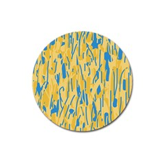 Yellow And Blue Pattern Magnet 3  (round) by Valentinaart