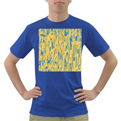 Yellow And Blue Pattern Dark T Shirt by Valentinaart