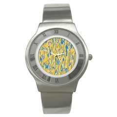 Yellow And Blue Pattern Stainless Steel Watch