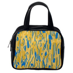 Yellow And Blue Pattern Classic Handbags (one Side) by Valentinaart