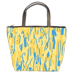 Yellow And Blue Pattern Bucket Bags by Valentinaart