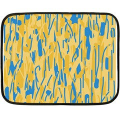 Yellow And Blue Pattern Fleece Blanket (mini) by Valentinaart