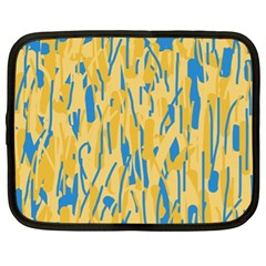 Yellow And Blue Pattern Netbook Case (xl)  by Valentinaart