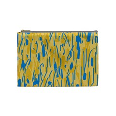 Yellow And Blue Pattern Cosmetic Bag (medium)  by Valentinaart