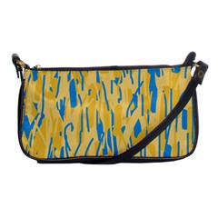 Yellow And Blue Pattern Shoulder Clutch Bags by Valentinaart
