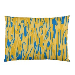 Yellow And Blue Pattern Pillow Case (two Sides) by Valentinaart