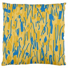 Yellow And Blue Pattern Large Cushion Case (two Sides) by Valentinaart