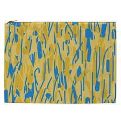 Yellow And Blue Pattern Cosmetic Bag (xxl)  by Valentinaart