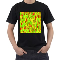 Green And Red Pattern Men s T-shirt (black) (two Sided) by Valentinaart