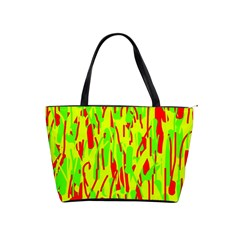 Green And Red Pattern Shoulder Handbags by Valentinaart