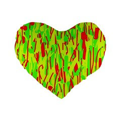 Green And Red Pattern Standard 16  Premium Heart Shape Cushions by Valentinaart