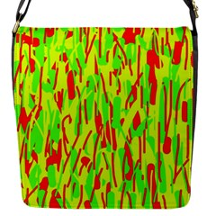 Green And Red Pattern Flap Messenger Bag (s) by Valentinaart