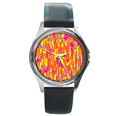 Pink And Yellow Pattern Round Metal Watch by Valentinaart