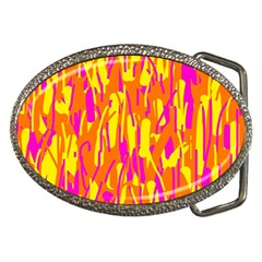 Pink And Yellow Pattern Belt Buckles by Valentinaart