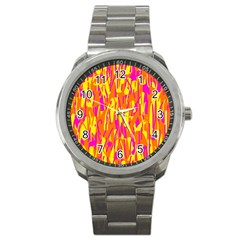 Pink And Yellow Pattern Sport Metal Watch by Valentinaart