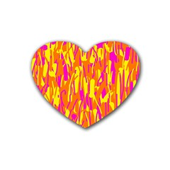 Pink And Yellow Pattern Heart Coaster (4 Pack)  by Valentinaart