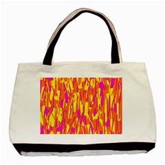 Pink And Yellow Pattern Basic Tote Bag (two Sides) by Valentinaart