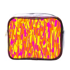 Pink And Yellow Pattern Mini Toiletries Bags by Valentinaart