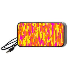 Pink And Yellow Pattern Portable Speaker (black)  by Valentinaart