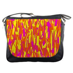 Pink And Yellow Pattern Messenger Bags by Valentinaart