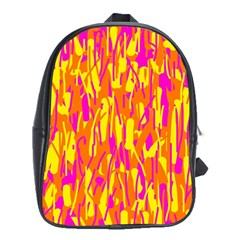 Pink And Yellow Pattern School Bags (xl)  by Valentinaart