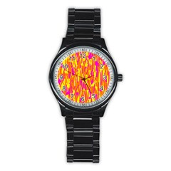 Pink And Yellow Pattern Stainless Steel Round Watch by Valentinaart