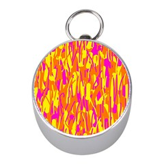 Pink And Yellow Pattern Mini Silver Compasses by Valentinaart