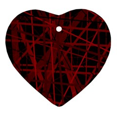 Black And Red Pattern Ornament (heart)  by Valentinaart
