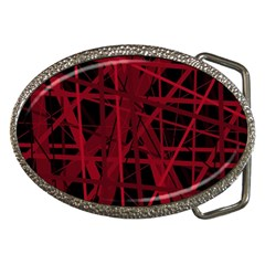 Black And Red Pattern Belt Buckles by Valentinaart