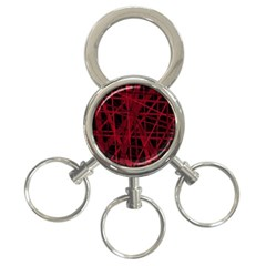 Black And Red Pattern 3-ring Key Chains by Valentinaart