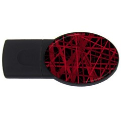 Black And Red Pattern Usb Flash Drive Oval (2 Gb)  by Valentinaart