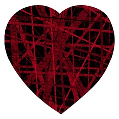 Black And Red Pattern Jigsaw Puzzle (heart) by Valentinaart
