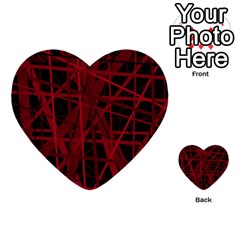 Black And Red Pattern Multi Purpose Cards (heart)  by Valentinaart