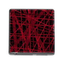 Black And Red Pattern Memory Card Reader (square) by Valentinaart