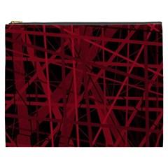 Black And Red Pattern Cosmetic Bag (xxxl)  by Valentinaart