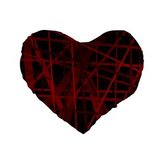 Black And Red Pattern Standard 16  Premium Heart Shape Cushions by Valentinaart