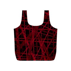 Black And Red Pattern Full Print Recycle Bags (s)  by Valentinaart