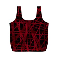 Black And Red Pattern Full Print Recycle Bags (m)  by Valentinaart