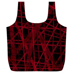 Black And Red Pattern Full Print Recycle Bags (l)  by Valentinaart