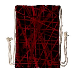 Black And Red Pattern Drawstring Bag (large) by Valentinaart
